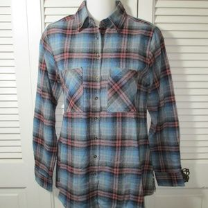 Hint Of Mint Blue Plaid Flannel Back Panel S